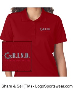 G.R.I.N.D. Ladies Polo - Red Design Zoom