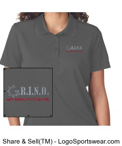 G.R.I.N.D. Ladies Polo - Charcoal Design Zoom