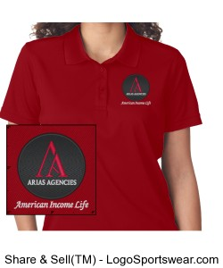 Arias Agencies Ladies Polo - Red Design Zoom