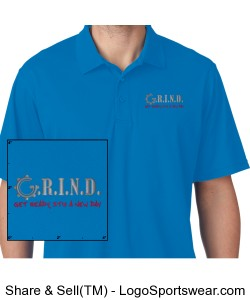 G.R.I.N.D. Men Polo - Pacific Blue Design Zoom